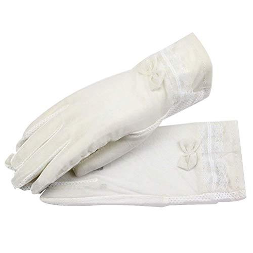 Dames Kant Ademende Touch Voor Geschenken Voor Vrouwen Scherm Handschoenen Smartphones Strik Splicing Plain-Colored Mitts (Kleur : Wit, Maat : Een Grootte)