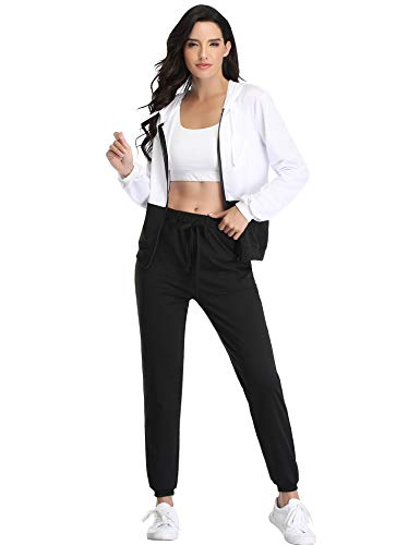 Irevial Chaqueta Deportiva Mujer y Pantalones Conjunto de Chándal Sudadera Manga Larga + Pantalón de Sudor Dos Piezas Casual Deportivos Ropa Completos para Fitness Yoga Jogging
