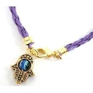 goud/brons hamsa hand kabbalah paars draad draad armband kwaad oog