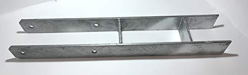BIAT ® H-Anker/Pfostenträger in feuerverzinkter Ausführung, deutsche Produktion CE-gestempelt, 6mm Stärke (4 Stück, 101 x 600mm) Passende Sechskantschrauben DIN 931 finden Sie bei uns im BIAT Store