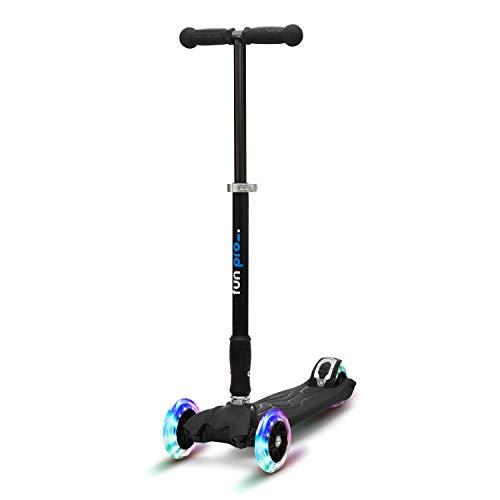 fun pro Two - ab etwa 5 Jahre, bis 80KG Gewicht, der sichere Premium Kinder Roller, LED Räder, faltbar, (Kickboard, Tretroller), TÜV geprüft (Schwarz)