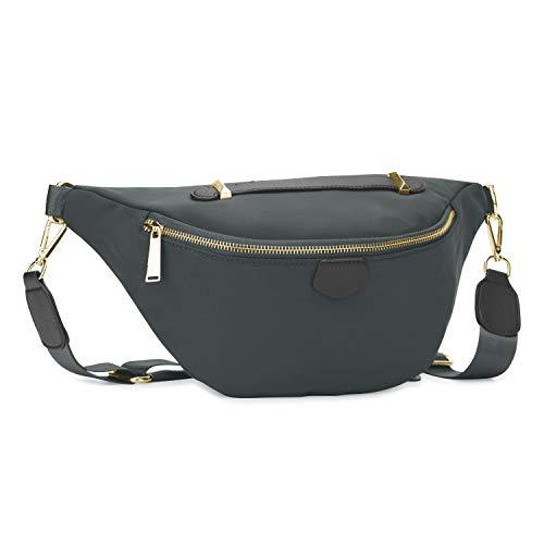 Wind Took Damen Brusttasche Crossbody Bag Mode-Hüfttaschen Große Umhängetasche Sling Tasche Schultertasche für Reisen Festival Konzert Freizeit, Grau