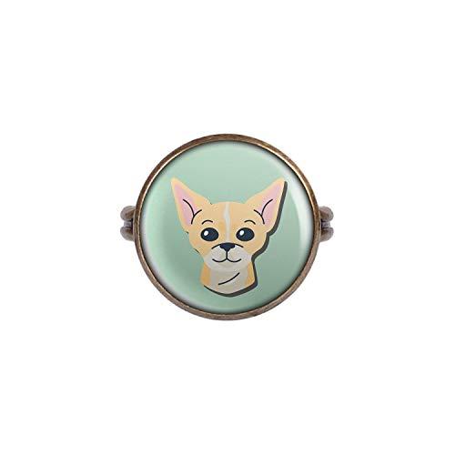 Mylery Anello con Motivo Cane della Chihuahua Bronzo 16mm