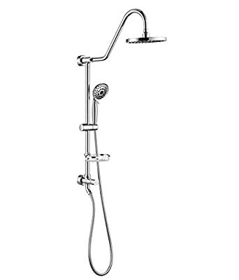 "Shower System with 8"" Rain Showerhead, Homelody 5-Function Hand Shower 59"" Stainless Steel hose, Adjustable Slide Bar and Soap Dish, Chrome"