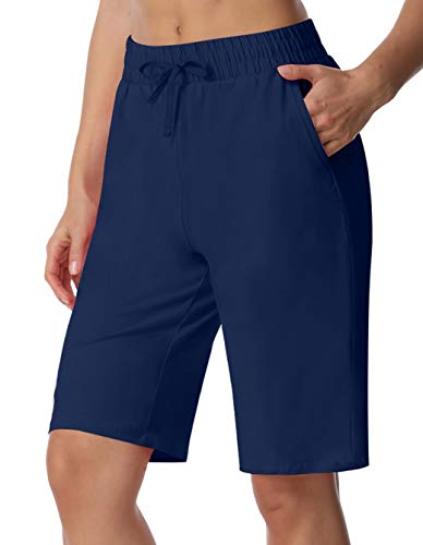 ChinFun Women's Bermuda Shorts Athletic Active Yoga Lounge Quick Dry Activewear Workout Soft Knit French Terry Sweat Running Shorts with Deep Pockets Navy Size M