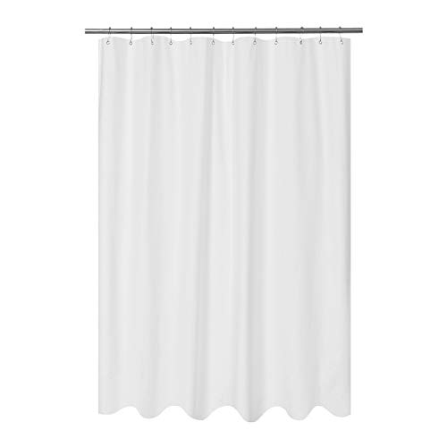 Mrs Awesome Embossed Microfiber Fabric Long Shower Curtain Liner 78 inches Length, Washable and Water Repellent, White