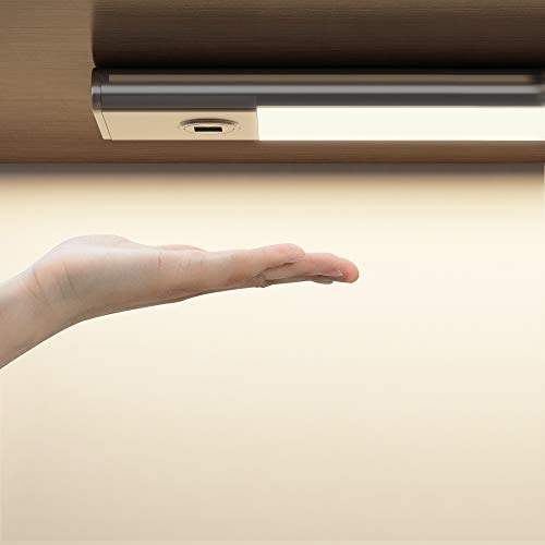 SOAIY 30cm Luz bajo mueble cocina con sensor movimiento de la mano, Iluminacion ajustable led cocina bajo mueble, luz cocina bajo armario con modos 3 Colores para Armario, Cocina