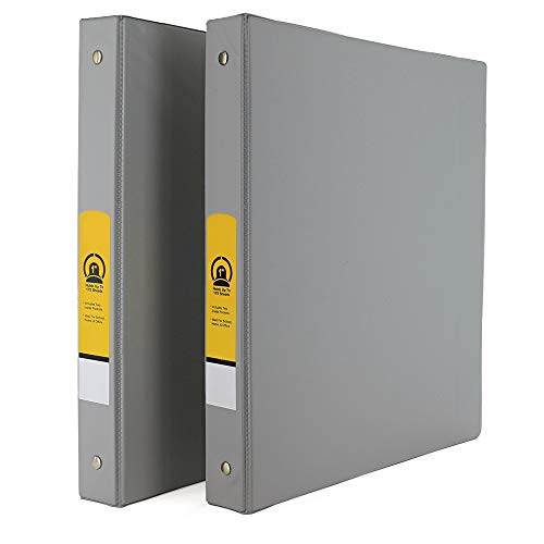 """Emraw Super 1"""" Inch 3-Ring Binder with 2 Side Pockets for Papers and Dividers - Available in Grey - Great for School, Home, & Office (2-Pack)"""