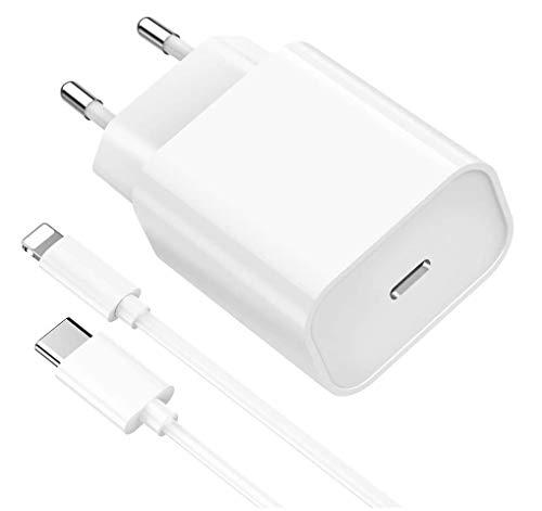 Chargeur Secteur Rapide 18W + Cable Compatible avec iPhone 12/12 Mini / 12 Pro / 12 Pro Max / 11/11 Pro / 11 Pro Max/X/XS/XS Max/XR/Se 2020/8 / 8 Plus Phonillico®