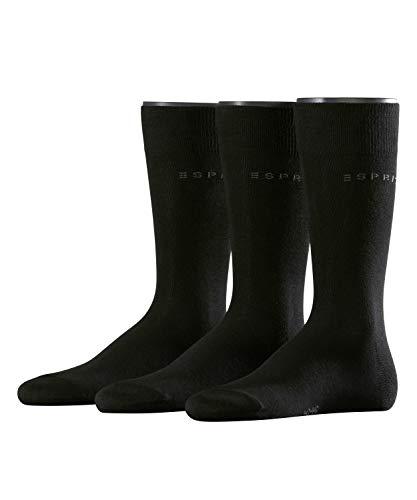 ESPRIT Herren Socken Solid - 80{563bd9e2cee1961e427f4ceba0fbbcbadc76df3e72d51408840d8540b6d924f2} Baumwolle, 3 Paar , Schwarz (Black 3000), Größe: 40-46