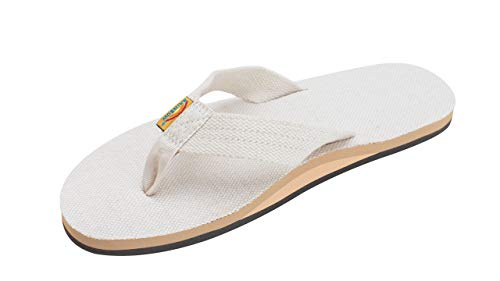 Rainbow Sandals Men's Hemp Single Layer Wide Strap with Arch, Natural, Men's Large / 9.5-10.5 D(M) US