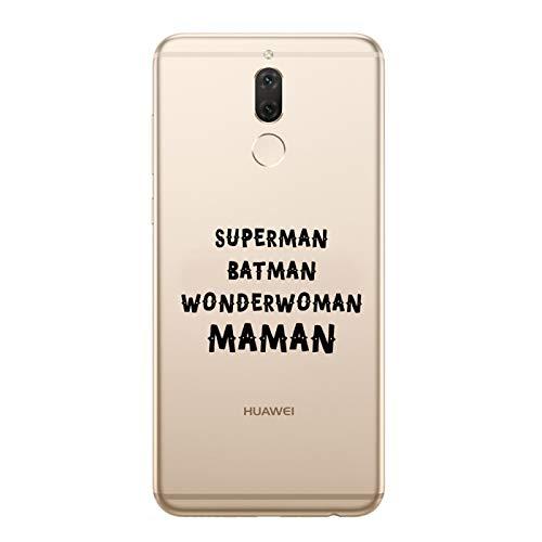ZOKKO Coque Huawei Mate 10 Lite Superman Batman Wonderwoman Maman - Souple Transparente Encre Noir
