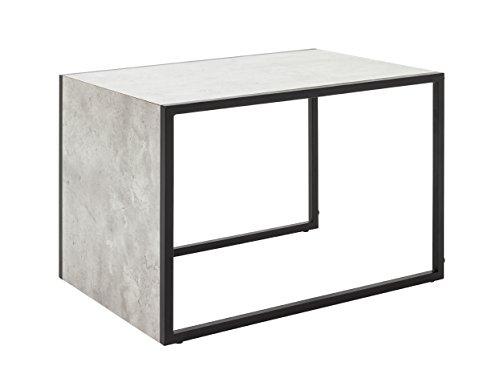 HAKU Möbel 14648 Beistelltisch, Metall, schwarz-Betonoptik, B 55 cm x T x H 38 cm
