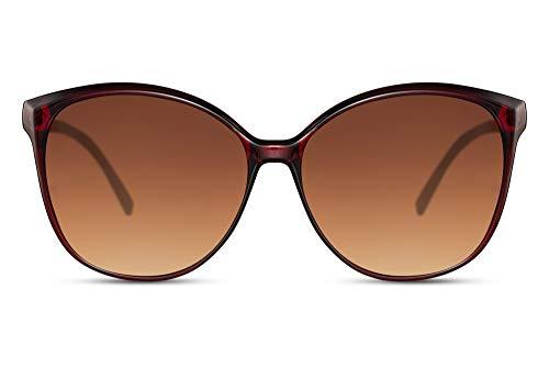 Cheapass Gafas de Sol Grandes Rojo Mariposa Estilo con Gradual Lentes Marrones para Mujeres Protección UV400