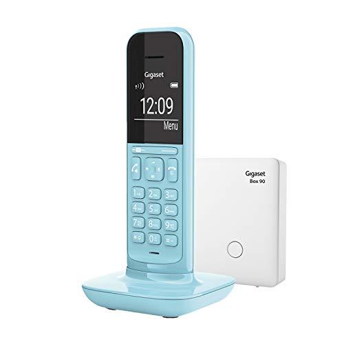 Gigaset CL390, Schnurloses Telefon, 2 Akustik-Profile, extra große Anzeige im Wahlmodus & Telefonmenü, Schutz vor unerwünschen Anrufen, inkl Basisstation Box 90, purist blue