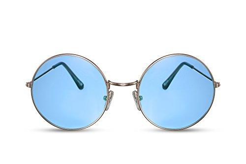 Cheapass Gafas de Sol Redondas Grandes Lentes Azules Diseñador UV400 Metálicas Mujer