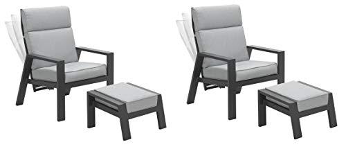 Garden Impressions 2 x Luxus Relaxsessel mit Hocker Max, Verstellbarer Rücken