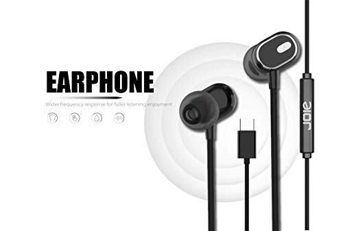 Nwark/Joie USB Type C Earphones [Upgraded Version] Wired in-Ear Earbuds w/Mic, Noise Cancelling Sports Earphones Compatible with One Plus 7pro/7/6T (Black)