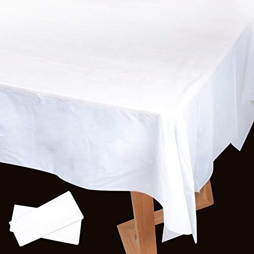 2pz (137x274cm) Tovaglie Plastificata Rettangolare Impermeabile Copritavolo Antimacchia per Tavolo Decorazione per Festa Matrimonio Laurea Compleanno Casa Cucina Cena Party Tavola (Bianco)