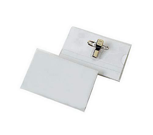 50 Stück Namensschild Office Point | Namensschilder für Kleidung | Visitenkarten Format 90 x 56mm | Kombiklemme Clip | transparent