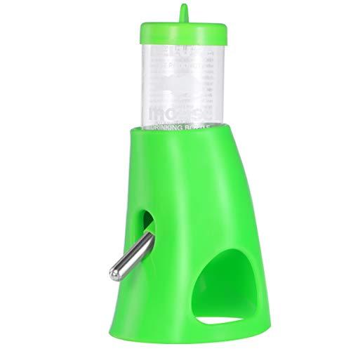 Balacoo Botella de Agua para Hámster sin Goteo Dispensador de Agua para Animales Pequeños con Base de Plástico Escondite para Hámster Bebedero Verde