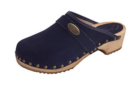 absoft Clogs dames velours marineblauw originele houten klompen Zweden houten schoenen dames houten schoenen leer velours klompen damesklompen Zweden klompen dames velours marineblauw DWG07