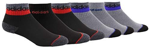 adidas - Calcetines de cuartos altos para niño (pack de 6), Niños, Calcetines, 978101, Onix - Onix Marl/ Scarlet Onix - Onix claro, Large, (Shoe Size 3Y-9)