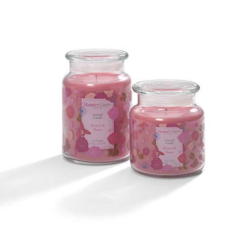 Hassett Green - Harten & Rozen Geurende Kaars Potje Twin Gift Set Gemaakt in het Verenigd Koninkrijk