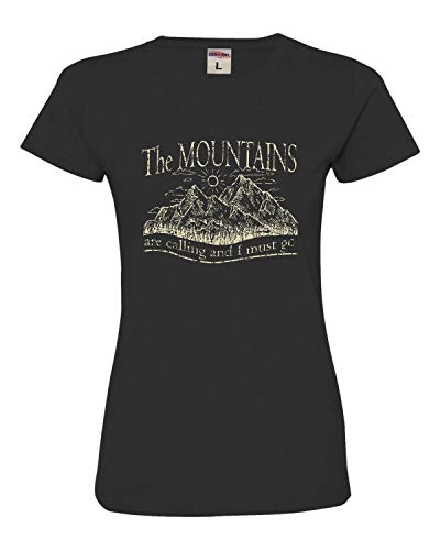 Medium Black Womens The Mountains are Calling and I Must Go Deluxe Soft T-Shirt