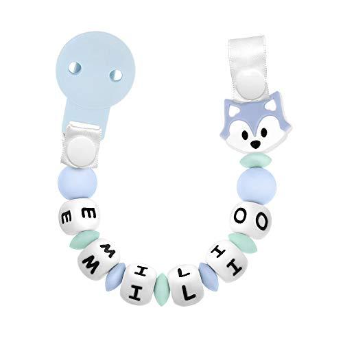 RUBY - Chupetero Personalizado para Bebé con Nombre Bola Silicona Antibacteriana con Pinza de Plástico, Chupetero Zorrito (Azul Pastel Pl)