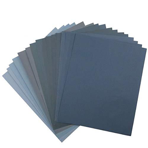 Schleifpapier mit Körnungen von 400 bis 5000, für Holzmöbelveredelung, Metallschliff und Automobilpolierung, Trocken- oder Nassschliff, 22,9 x 27,9 cm, 16 Blatt