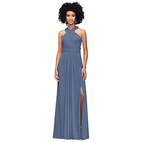 David's Bridal Crisscross High-Neck Mesh Bridesmaid Dress Style F19952, Steel Blue, 26