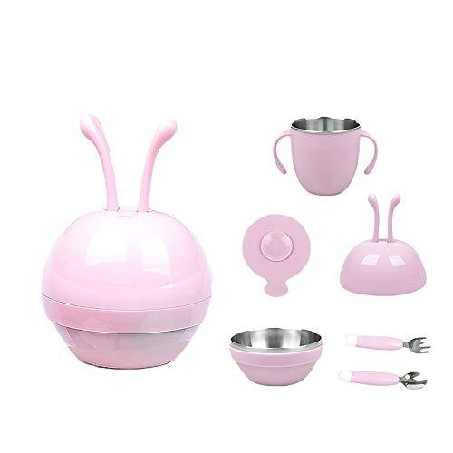 Assiette Pour Enfants Assiette Pour BéBé Ensembles De Table Pour BéBé Plateau Anti-Glisse Silicone Smile Face Table à Manger Coffre-Fort,Pink