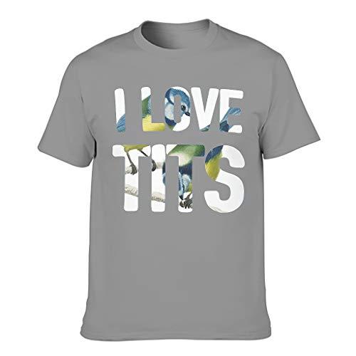 Leichtgewicht Herren T-Shirt Ich Liebe Titten Vögel beobachten Druck Spaß Bluse Dark Gray l
