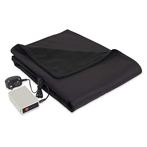 Eddie Bauer | Portable Heated Electric Throw Blanket-Rechargeable Lithium Battery with USB Port-Water Resistant Weather Smart Fleece for Travel,...