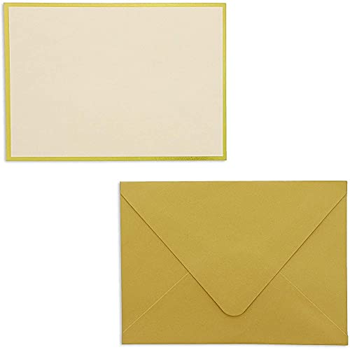 Sustainable Greetings 48 Pack Blank Invitation Cards and Envelopes, Gold Foil Border, 4 x 6 Inches