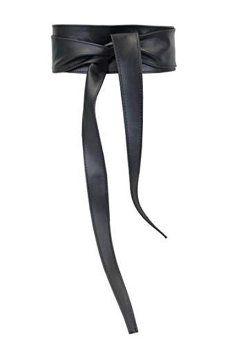 irisaa Damen Leder Taillengürtel Breiter Obi Gürtel Wickelgürtel Echtleder Bindegürtel Hüftgürtel Party Gürtel aus Italien, Damen Taillengürtel 2020:Schwarz