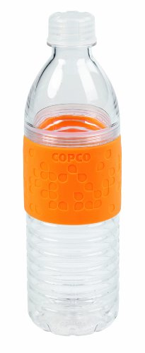Copco Hydra Reusable Tritan Water Bottle with Spill Resistant Lid and Non-Slip Sleeve, Chevron Orange