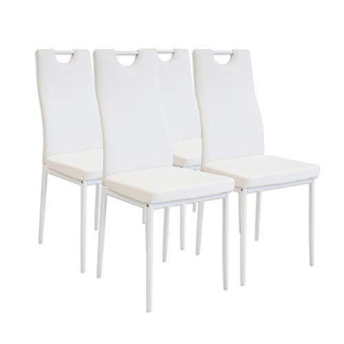 Albatros 2908 Salerno Set di 4 sedie da Pranzo, Bianco