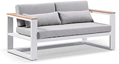 Balmoral 2 Seater Outdoor Aluminium and Teak Lounge-White Aluminium W/Olefin Grey, White Aluminium w/Olefin Grey - Outdoor...