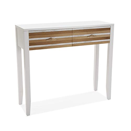 Versa Zen Meuble d'Entrée Étroit pour l?Entrée ou Couloir, Table Console, avec 2 tiroirs, Dimensions (H x l x L) 80,5 x 30 x 90 cm, Bois, Couleur: Blanc
