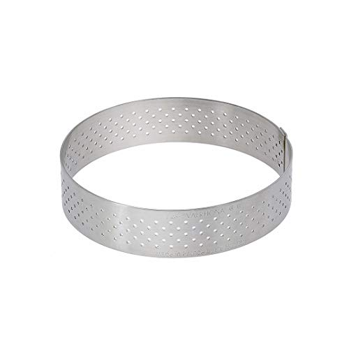 De Buyer Round Tart Ring with Perforated Straight Rim in Stainless Steel, Silver