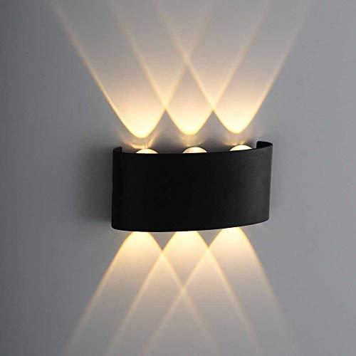 Lámpara de Pared LED 6W, Interior y Exterior, Aplique Moderno Negro Impermeable IP65, Blanco Cálido 3000K (2 uds.)