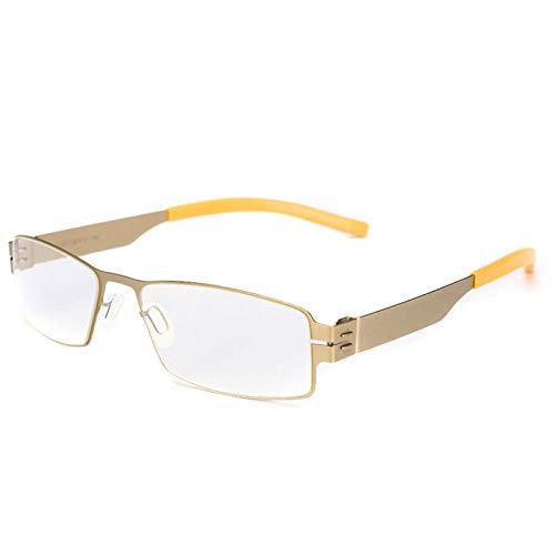 JJCFM Ultralichte leesbril, voor dames en heren, modieus, anti-blauw, anti-vermoeidheid, HD computerbril, draagbare lezer, ultralicht, frame van elastisch staal, goudkleurig