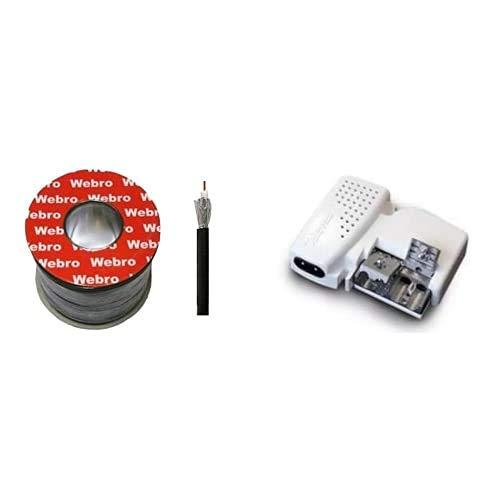 Webro Cable coaxial (50 m, RG6, digital, para antena y televisión por satélite), color negro + Televes 5795 Fuente DE ALIMENTACION Antena PICOKOM