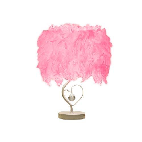 Lámpara de mesa de plumas con forma de corazón y cristal, moderna lámpara de mesa, lámpara de mesa, lámpara de mesa para salón, dormitorio, bar, restaurante, hotel (rosa)