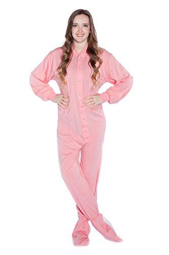 BIG FEET PAJAMA CO. Rosa Baumwolle gestrickt Erwachsene Onesie Fuß Pyjamas mit Butt Flap hinteren Klappe für Männer & Frauen