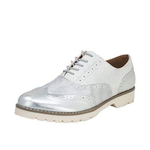 Fitters Footwear That Fits Damen Schnürer Isabelle Lederimitat Schnürer Lack Business Broque Übergröße (44 EU, Silber)
