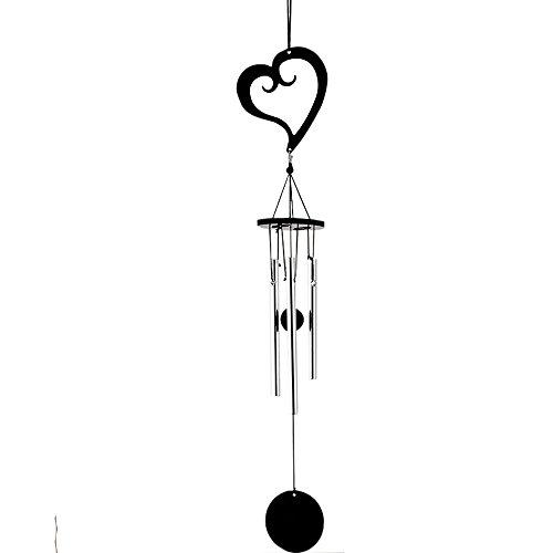 Yeyo Black Coated Heart Metal Bell Tube Wind Chimes Indoor/Outdoor Garden Flower Pot Bonsai Decor