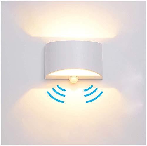 Wandleuchte mit Bewegungsmelder Innen 7W Warmweiß, LED Wandlampe Up and Down Wandlampe Aluminium Innenleuchte Wandbeleuchtung für Wohnzimmer Schlafzimmer Flur Treppenhaus [Energieklasse A++]